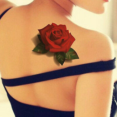 Aufkleber Tattoo Fake Wasserdicht 3d Rot Schmetterling Rose Blume Folie