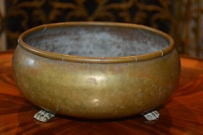 Antique Imperial Russian Hand Hammered Brass Claw  Foot Planter Bowl Stamped