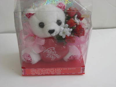 NEW White Plush Bear on stand holding flowers and heart Lights up