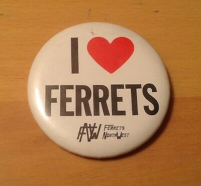 Ferret Pin Button Vintage I Love Ferrets Pinback