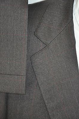 44R Vintage Simon's Copley Square USA Made Wool Charcoal Black Red Plaid Suit