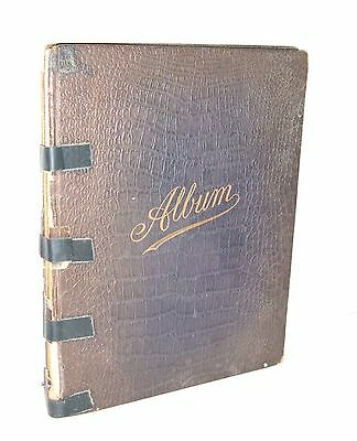 ** ANTIQUE 1911 LEATHER ALBUM of PAINTINGS HANDWRITTEN VERSE ETC **