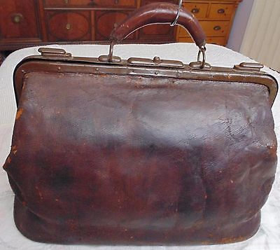 Antique Murell Leather Doctor's Travel Bag, Boston, 1920s, Large, Works, Patina