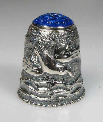 thimble sterling seagull lighthouse Thorvald Greif new blue stone top Germany