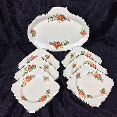 Vintage Alfred Meakin China Sandwich Plate 6x Square Side Plates Art Deco Floral