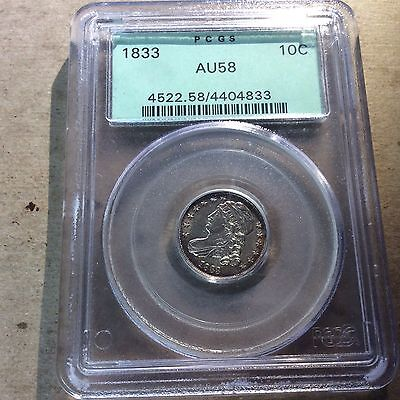 1833 Capped Bust Dime PCGS AU58 - Green Holder