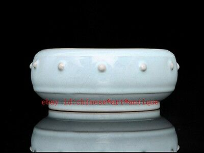 chinese ancient Sky blue glaze porcelain carving Drum butyl Circular wash