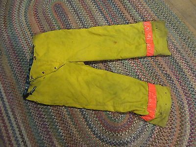 Vintage Globe Firefighter Bunker Turnout Pants size 36  yellow flannel liner