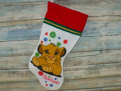 "Disney The Lion King Christmas Stocking SIMBA CUB Felt Stocking 15"" L Vintage"