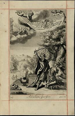 Abraham's Sacrifice Angel Descent from Heaven 1690 old original engraved print