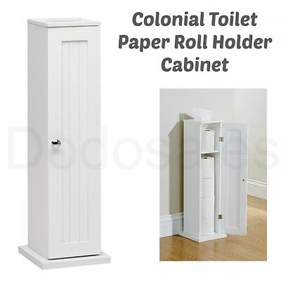 Colonial Toilet Paper Roll Holder Cabinet Free Standing Bathroom Storage Unit