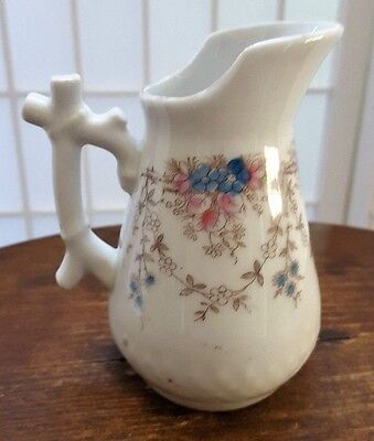 Antique Porcelain Creamer Handle Bamboo Shape Lotus Blue and Pink Gold Rim (1