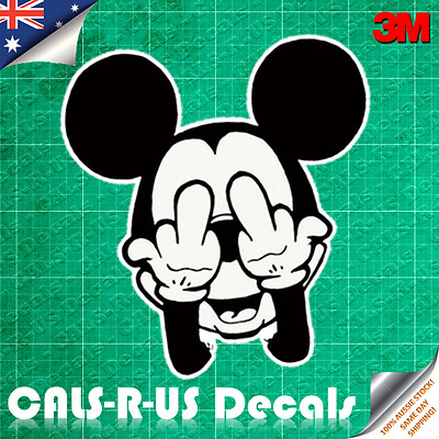 JDM Bad Mickey Mouse Middle Finger Car Decal Sticker Luggage. 3M Film. 100mm