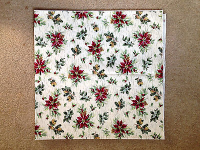 """LONGABERGER Red Green Poinsettia 36"""" square TABLECLOTH Christmas Winter NEW"""