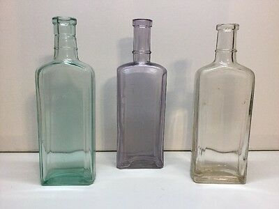 Antique Colorful Lot Of 3 Large Size Early Medicine Bottles