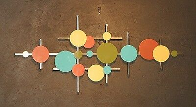 Abstract Metal Sculpture Wall Art Mid Century Modern Retro Color Hand Made