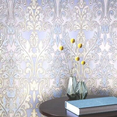Non-Woven Wallpaper white gold blue wallcovering roll textured damask victorian