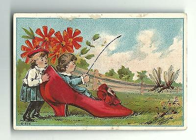 Old Trade Card Shaub & Burns SHOES Lancaster PA Children Bees Reins Whip Pulling