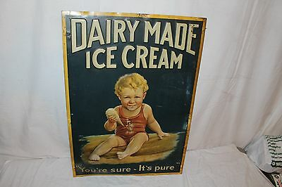 """Rare Vintage 1920s Dairy Made Ice Cream Gas Oil Soda Pop 28"""" Embossed Metal Sign"""