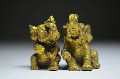 Collectible Chinese Brass Hand Carved Pair Elephant Statue