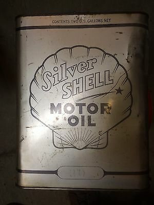 """Vintage Antique """"silver Shell"""" Motor Oil Can- 2 Gallon Size"""