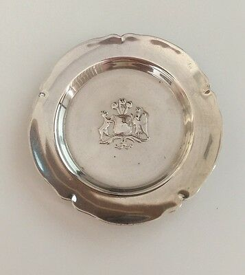 Vintage 900 Silver Ash Tray Coat Of Arms Chile Hecho A Mano