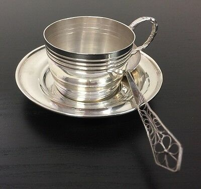 Antique Vintage 900 Silver Tea Cup And Saucer And Spoon Plata Fina Chile