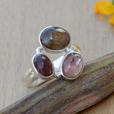 Multicolored Pink Tourmaline Gemstone 925 Sterling Silver Ring Jewelry size 4-12