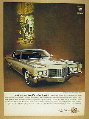 1970 Cadillac Coupe deVille car photo vintage print Ad