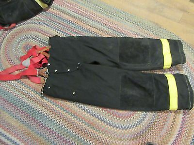 Janesville Lion Firefighter Pants & suspenders Turnout Gear 42 x 32 heavy  liner
