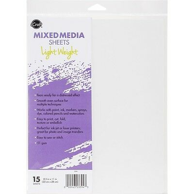 "iCraft Mixed Media Sheets 8.5""X11"" 15/Pkg - Lightweight"