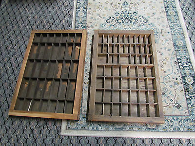 "2 Sm Vintage Wood Printers Drawer Tray / Display for Miniatures 16 3/4"" x 11 1/2"