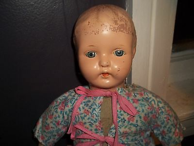 "17"" Antique Side Glancing Eyes Tin/metal Head Ideal Doll Nice"