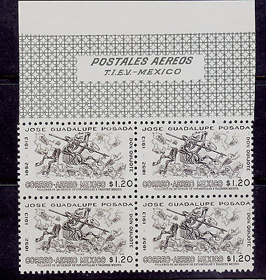 Mexico Air mail Stamp.Sc#C-278. Block of 4. top margin. Don Quijote Mint NH.