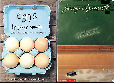 Lot of 2 Paperback Books by Jerry Spinelli - Eggs and Loser