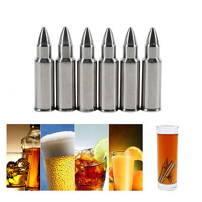 Stainless Steel 6PCS Ice Cube Bullet Whiskey Stones Wine Chiller Cooler Cool TP