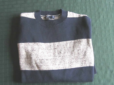 NWOT Boy's GAP KIDS Sweater Pullover Size L (10) Navy and Gray Stripe Cotton