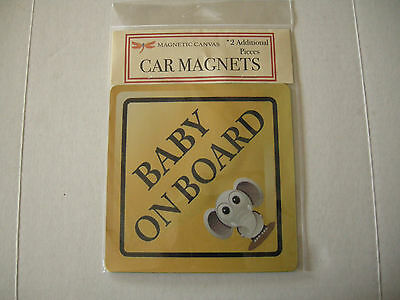 Baby On Board Car Magnets & 2 Additional Elephant Magnets By Magnetic Canvas,New