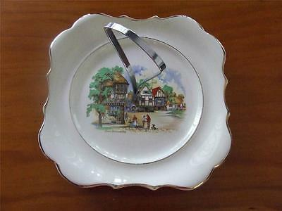 Down Somerset Way - Vintage Cake Plate With Centre Handle - Lancaster & Sandland