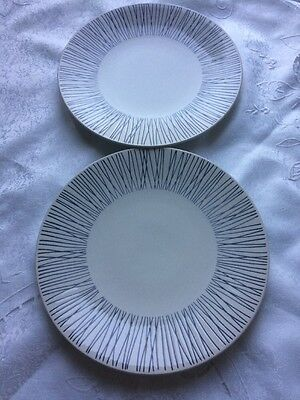 """M & S Dinner Plates X 2 Norway Pattern  (White with blue design) Diameter 10.8"""""""