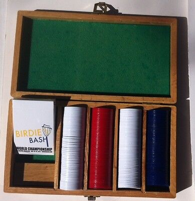 Wooden Box set of Poker Playing Chips and a Deck of Unopened Cards, Wooden Case