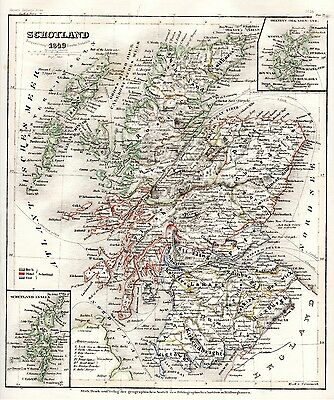 1849 Meyer - F. Radefeld Scotland map inset Orkney and Shetland