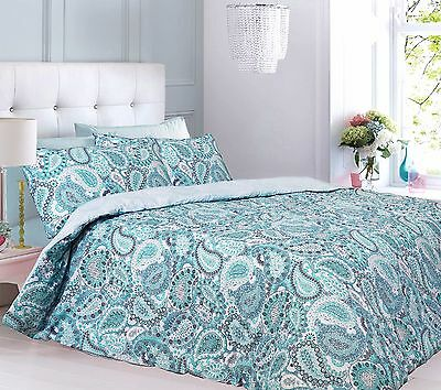 Paisley Aqua Reversible Quilt Duvet Cover Bedding Set And Pillowcases All sizes