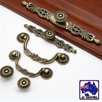 Drawer Handle Pulls Retro Bronze Antique Cupboard Wardrobe Cabinet Chest TENH522