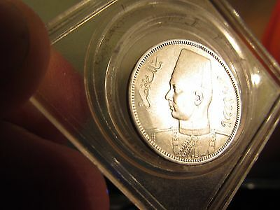 STUNNING aUNC NUMISMATIC JEWELS 1937 EGYPT 5 & 2 SILVER Qurush YOUNG KING FAROOK
