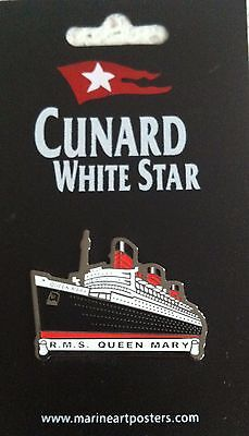 Cunard RMS QUEEN MARY Liner MARINE ART POSTERS Cruise SHIP Enamel BADGE Pin