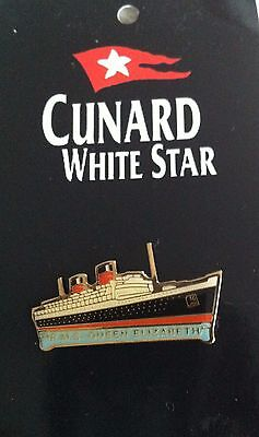 Cunard RMS QUEEN ELIZABETH Liner MARINE ART POSTERS Cruise SHIP Enamel BADGE Pin
