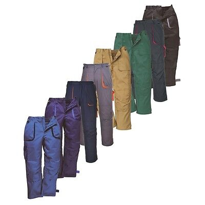 Portwest Texo Contrast TX11 Work Wear Trousers Elastic Waist Knee Pad Pockets
