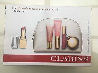 Authentic Clarins Four Lip Products + Make Up Bag Gift Set