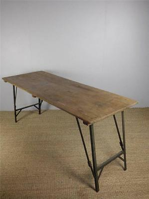 20 AVAILABLE Vintage Pine Industrial Trestle Desk Dining Cafe Bar Tables inc VAT